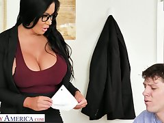 More than unexcelled appetizing giant breasted MILFie crammer Sybil Stallone gives titjob