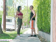 Eye catching milf Reagan Foxx bangs enticing young dude living nextdoor