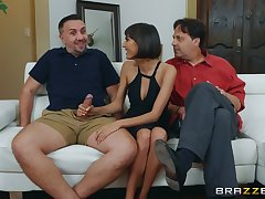 sweet brunette Janice Griffith wants to try her friend's penis taste