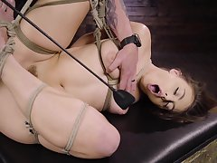 blue Gia Derza destroys her shaved and wet pussy with big sex toy