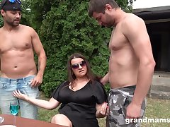 Mature lady adores group sex outside everywhere horny neighbors