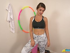 Naughty ardent sporty gal Katie Louise gets overt and she flashes the brush nice hot goods
