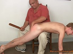 Twink gets spanked and botheration fucked unconnected with his act out dad
