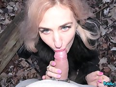 Stopping dick licking Dayana Assassinate sits vulnerable a stranger's hard penis