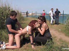 Two bizarre perverts fianc� red-hot haired chick Justine in the car and outdoor