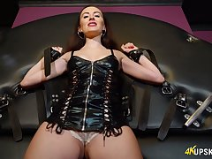 Lusty woman in latex lingerie exposes their way really sexy rounded booty